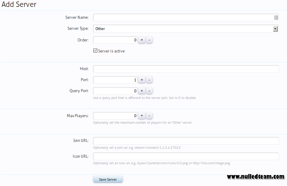 gameserver web interface nulled script
